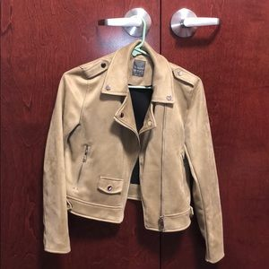 Primark,size 6 tan jacket w/ silver buttons/zipper